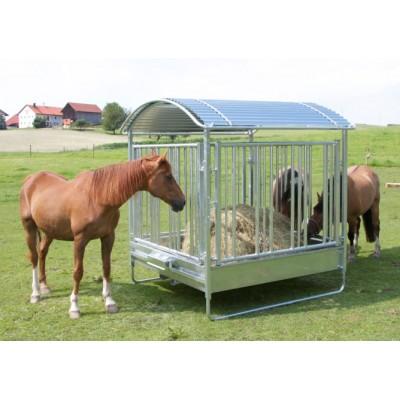 Comedero para caballos con barrera de seguridad